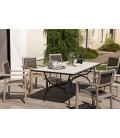 Table de jardin 200x100cm carreaux de ciment pieds noir arc métal VICK