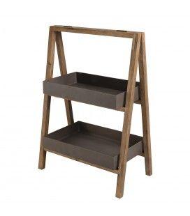 Meuble en bois d'acacia avec 2 étagères en résine effet béton PRESTIGE