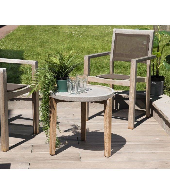 d'appoint en 50x50cm PRESTIGE béton Table acacia ronde et BrCWdxoe