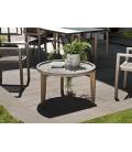 Table basse ronde béton 80x80cm pieds Acacia naturel HECTOR