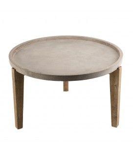Table basse ronde tablette en béton 80x80cm et bois massif PRESTIGE