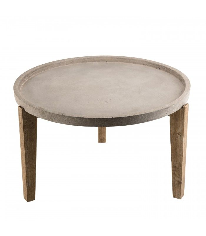 Table Basse Ronde Tablette En Beton 80x80cm Et Bois Massif