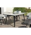 Table rectangle 162x102cm plateau mosaïque de ciment pieds noir métal VICK