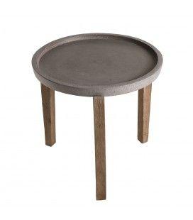 Table d'appoint ronde en béton et acacia 50x50cm PRESTIGE