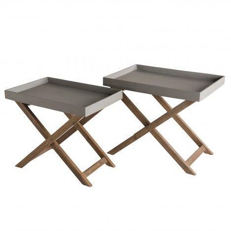 """Set de 2 tables basses effet """"Béton"""" pieds croisés Acacia HECTOR"""