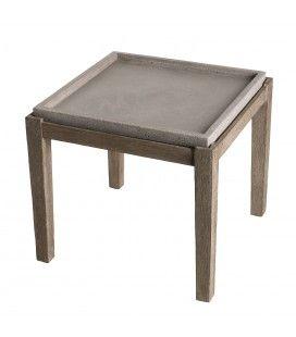 Petite table d\'appoint carrée en béton et bois massif 50x50cm PRESTIGE