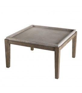Table basse carrée béton 80x80cm pieds Acacia foncé PRESTIGE