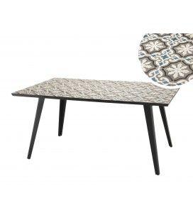 Table rectangulaire 162x102cm plateau mosaïque pieds métal noir NANG
