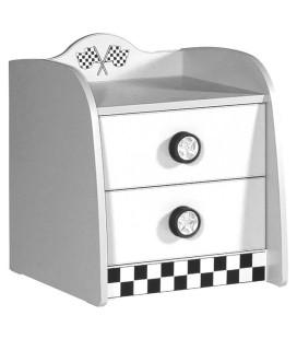 Table de chevet enfant blanc voiture course 2 tiroirs