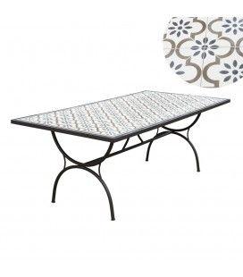 Table d'extérieur 200x100cm avec mosaïque de ciment et pieds en arc NANG