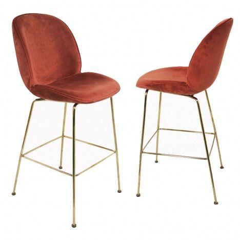 Chaise médaillon vintage velours pieds dorés - Lot de 2