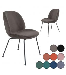 Chaises vintage en velours avec pieds noir - Lot de 2