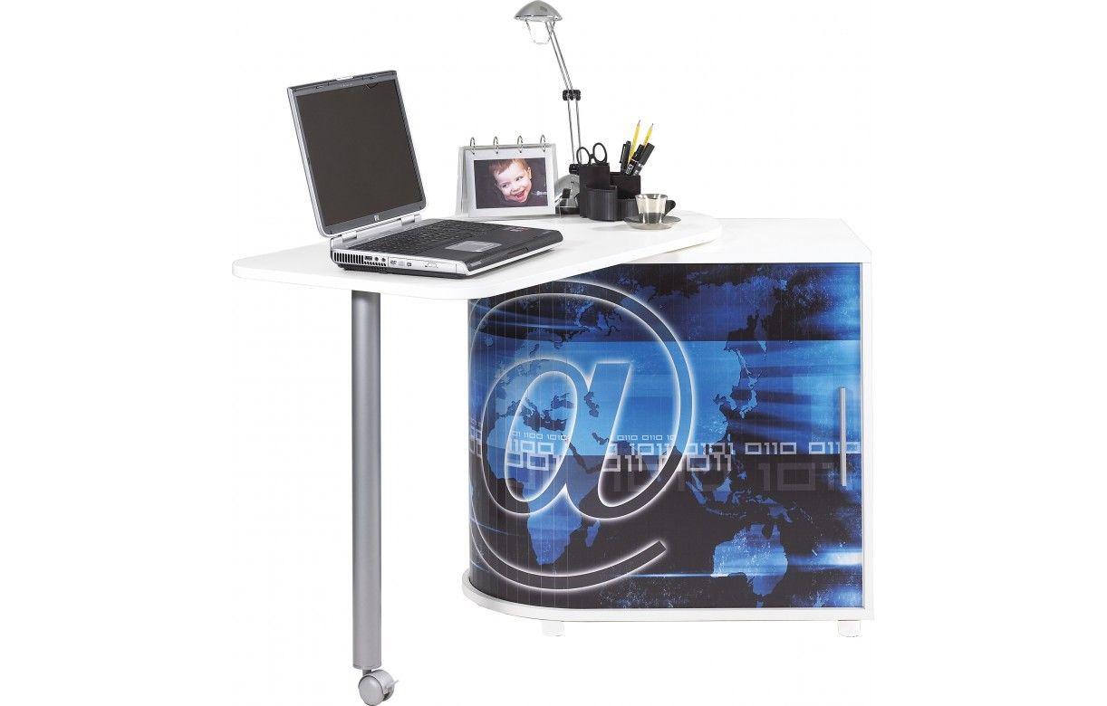 bureau informatique pivotant noir ou blanc arobase decome store. Black Bedroom Furniture Sets. Home Design Ideas