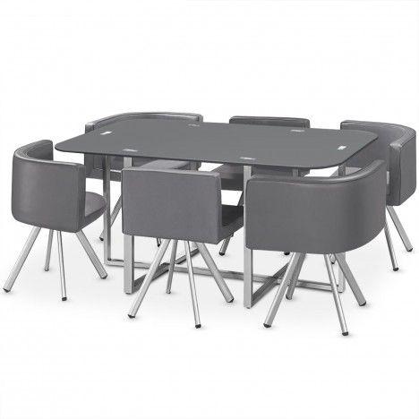 Ensemble table et 6 chaises encastrables en simili cuir - 3 coloris -