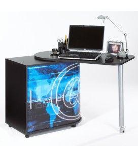 Bureau informatique pivotant noir ou blanc AROBASE -