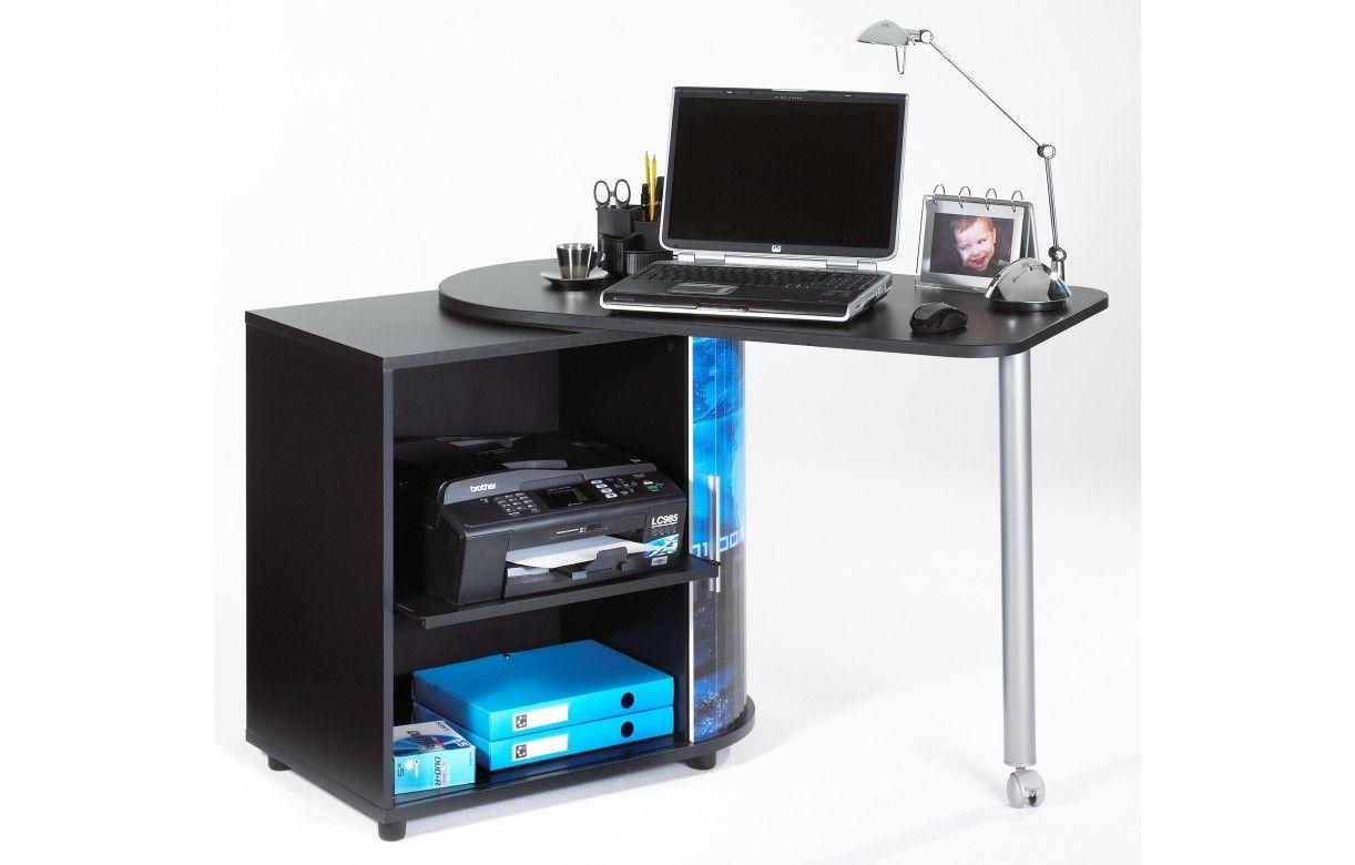Bureau informatique pivotant noir ou blanc arobase decome store