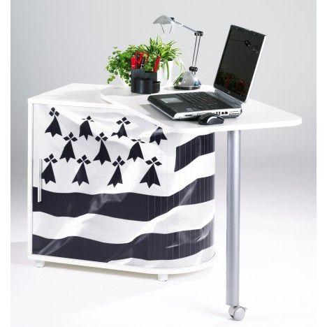 Bureau informatique pivotant blanc ou noir BREIZH -