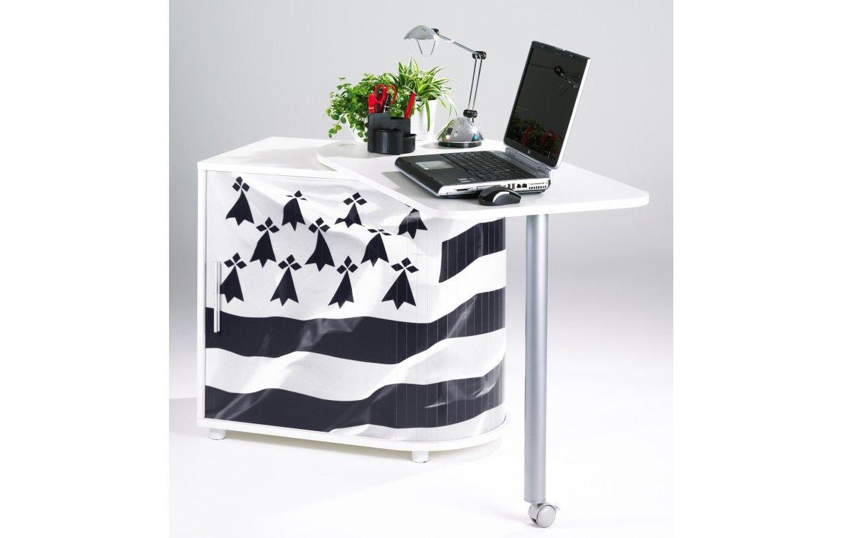 bureau informatique pivotant blanc ou noir breizh decome. Black Bedroom Furniture Sets. Home Design Ideas