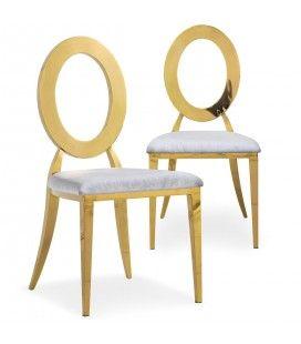 Lot de 2 chaises en velours argenté et métal doré SONY
