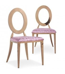 Lot de 2 chaises en velours rose et métal or rose SONY