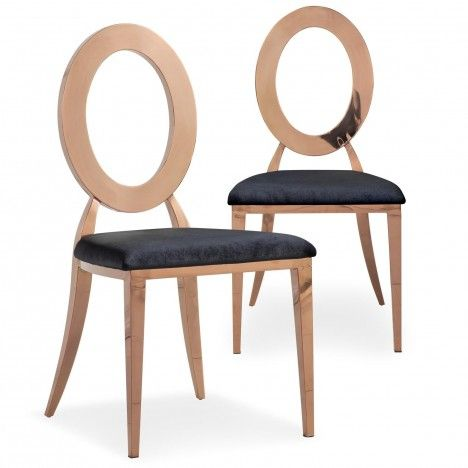 Lot de 2 chaises en velours rose et métal or rose SONY