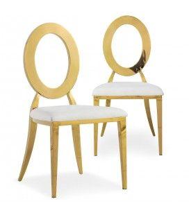 Lot de 2 chaises en simili-cuir blanc et métal doré SONY