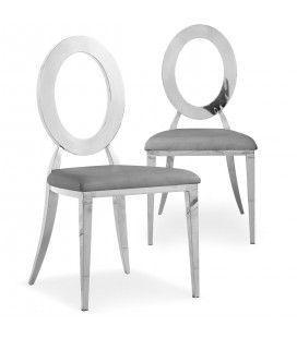 Lot de 2 chaises en simili-cuir gris et métal argenté SONY