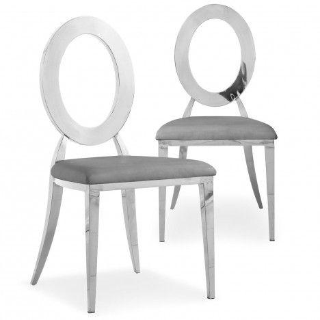 Lot de 2 chaises en simili-cuir blanc et métal argenté SONY