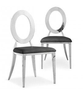 Lot de 2 chaises en simili-cuir noir et métal argenté SONY