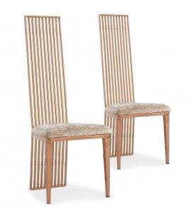 Lot de 2 chaises en métal et velours beige