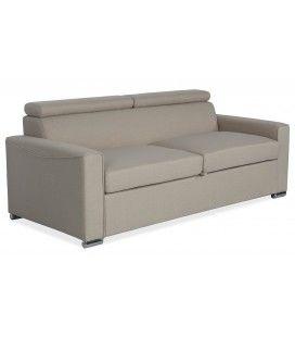 Canapé convertible en tissu beige avec matelas intégré
