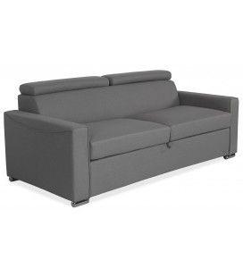 Canapé convertible en tissu gris avec matelas intégré