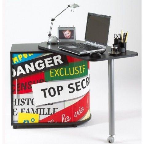 Bureau informatique pivotant blanc ou noir 007 -