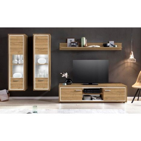 Ensemble de meubles TV design en bois clair