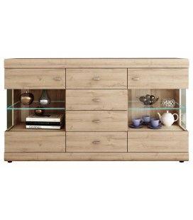 Buffet bois clair 6 tiroirs avec étagères en verre