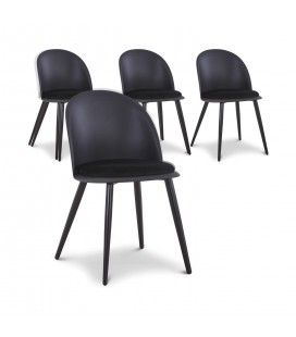 Lot de 4 chaises design en simili-cuir noir MURY