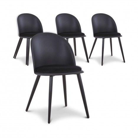 Lot de 4 chaises design en simili-cuir noir MURY