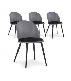 Lot de 4 chaises design en simili-cuir noir et gris MURY