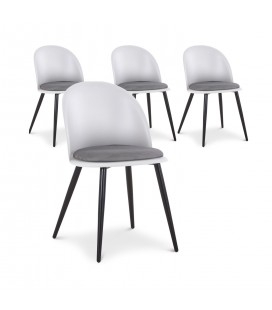 Lot de 4 chaises design en simili-cuir gris et blanc MURY