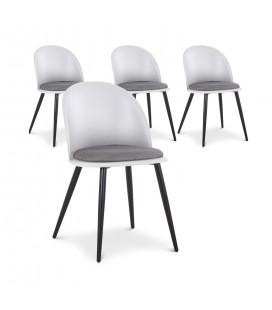 Lot de 4 chaises design en simili-cuir gris et noir MURY