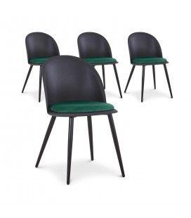 Lot de 4 chaises design en simili-cuir Noir et Vert MURY
