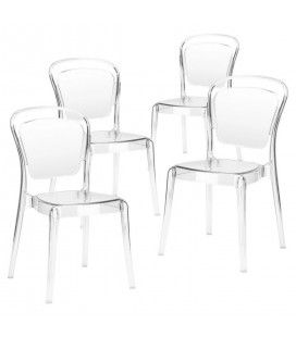 Lot de 4 chaises empilables transparentes Emilio