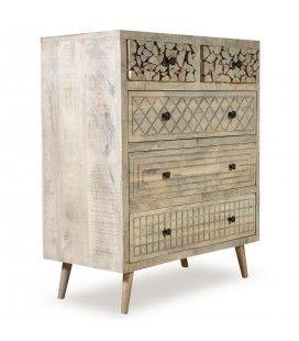 Commode originale en bois massif avec 5 tiroirs