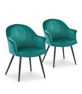 Lot de 2 fauteuils design en velours vert