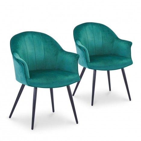 Lot de 2 fauteuils design en velours argenté