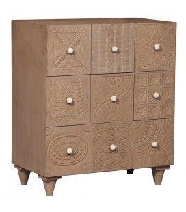 Commode en bois à 9 tiroirs en bois sculpté