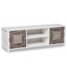 Meuble TV en bois au design vintage blanc et marron