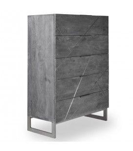 Commode en bois gris avec 5 tiroirs JINA