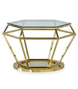Table basse hexagonale en verre et pieds métal doré