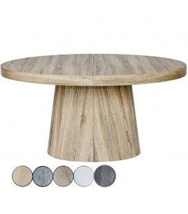 Table ronde extensible 3 rallonges en bois - 5 coloris